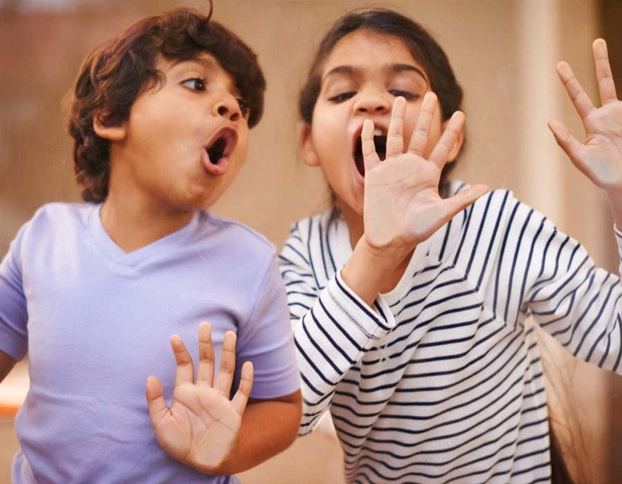 Shot of a cute brother and sister having fun together at home